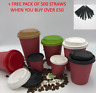 4/8/12/16oz 100 x Disposable Coffee Cups Red Paper Cups Party Cups With Lids