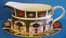 ROYAL CROWN DERBY 1128 OLD IMARI JAPAN SAUCE OR GRAVY BOAT & STAND
