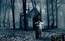 Framed Print - Ghost Outside a Crypt in a Dark Forest (Gothic Picture Poster)