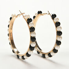 Women Vogue Faux Pearl Earings Chic Beads Gold Plated Ear Hoop Circle EarringsRD