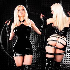 Completo Abito Aderente Simil Latex PVC Mistress Clubwear Sedere Scoperto Sexy