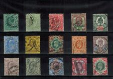 GB EDVII 1902 - 1913 SIMPLIFIED SET OF 15 STAMPS 1/2d TO 1/- IN USED CONDITION