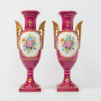PAIR french porcelain de couleuvre floral hand paint vases marked