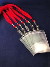 Red Lanyards with Safety Release Clips & Hard Plastic ID Holder x 5 Portrait