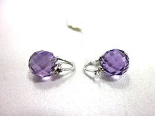AMAZON CURATED COLLECTION 10K WHITE GOLD BEADS AMETHYST EARRINGS (9X9MM) NEW