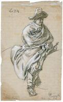 Wilhelm Emelé, Bleistift-/Kreide-Zeichnung, signiert & datiert v. 1885