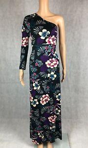 South Black One Shoulder Long Sleeve Floral Print Maxi Dress - UK 14 EU 42