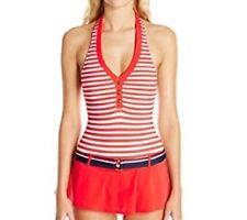 Tommy Hilfiger Swimdress Sz 12 Tomato Red Mult Halter One Piece Swimsuit TH47205