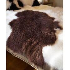 100% Genuine Tibetan Fur Throw Rug Blanket Mongolian Lambskin Sheepskin Hide Bed