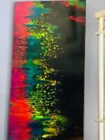 "ABSTRACT CANVAS ART Original Acrylic Painting Bright Modern ARTWORK 30"" X 15"""