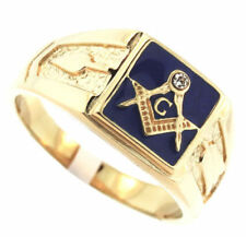 MASONIC MASON 18K GOLD NAVY BLUE GP RING ALL SIZES 6 7 8 9 10 11 12 13 14 15