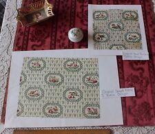 French Antique c1915 HandPainted Textile Design & Cotton Fabric Sample~Birds