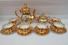 Vintage Early Stamped Bavaria Waldershof Porcelain German 22k Gold Coffee Set.