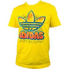 ADIDAS Originals Herren T-Shirt Old School Trefoil Graffiti  gelb Retro S NEU