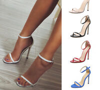 Strap Sandals Peep Toe High Heels Crossdresser Drag Queen Black Red Large Shoes