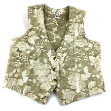 NEW Womens Orvis Green White Floral Embroidery Vest Size Small