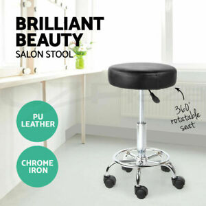 Black Swivel Stool with Wheels Gas Lift Lever Round PU Leather Salon Bar Office