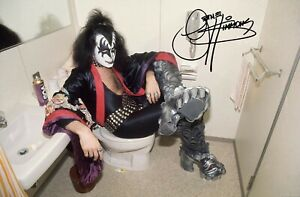 Kiss Gene Simmons 8x11 Photo Autographed Japan 1977 Tour Posing in the Bathroom