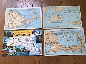 4 Vintage Cape Cod Nantucket Martha's Vineyard Massachusetts Map Postcards