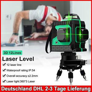 3D Laser Level 12 Lines Grünes Licht Selbstnivellierend Kreuzlinienlaser 360° DE