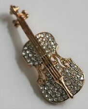 VIOLIN BROOCH / GOLD & CLEAR CRYSTALS / MUSIC VINTAGE STYLE