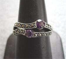 Beautiful Genuine Silver, Marcasite & Amethyst CZ Ring - Size O