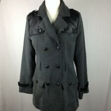 Tulle Womens Size M Double Breasted Coat Box Pockets Faux Leather Accents Jacket