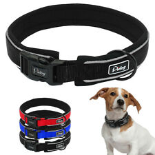 Reflective Nylon Thick Soft Padded Dog Collar For S M L XL Dogs Blue Black Red