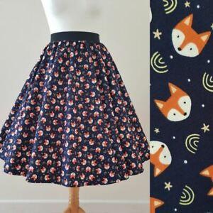 1950s Circle Skirt Fox Print All Sizes - Foxes Vixen Navy Blue Rockabilly Custom