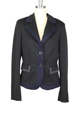 Women BYBLOS Blazer sz 46 Black w/ Blue Gray Trim Details Made in Italy NWT $680