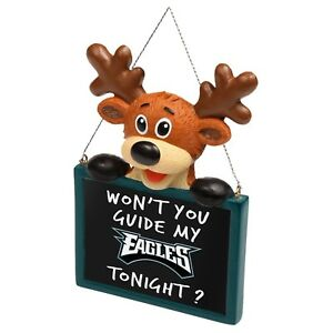 Philadelphia Eagles Reindeer with Sign Resin Holiday Christmas Tree Ornament New