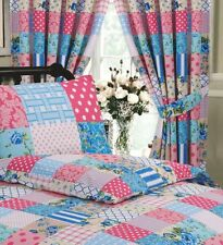 "66"" x 72"" PENCIL PLEAT CURTAINS & MATCHING TIE BACKS PATCHWORK BLUE PINK 68 PICK"