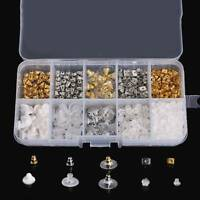 1 Plastic Box DIY Earring Findings Back Stoppers Stud Plugs Ear Post Nuts Set