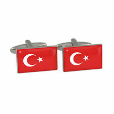 One Pair Silver Plated Novelty Cufflinks Turkey Flag & Gift Velvet Pouch T03A4