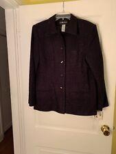 NWT Sag Harbor Women's Dress Blazer Jacket Black/Sparkle Black Sz14 Retail $58