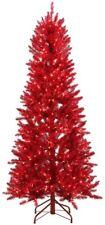 6 ft. Pre-Lit Shiny Red Fraser w Warm White & Red Color-Changing LED Lights