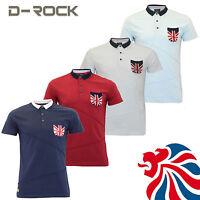 Mens D-Rock Union Jack Polo Shirt Short Sleeve T-Shirt Summer Great Britain Top
