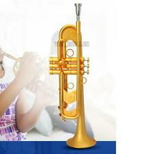 Professional New Heavy Trumpet Horn Satin Gold Finish Monel Valve With Case
