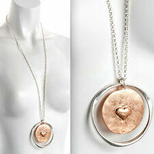 Matte finish rose gold and silver heart large round pendant long necklace