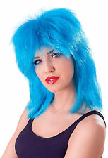 Adult 80S Punk Rock Rocker Blue Tinsel Tina Turner Mullet Wig Fancy Dress Party