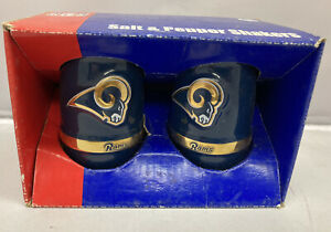 NFL St Louis Rams Vintage Football Team Retro Logo Glass Salt & Pepper Shakers