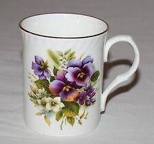 Royal Castle Floral Mug Purple Flowers Staffordshire England Bone China