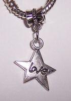 Love Star Heart Dangle Large Hole Bead for Silver European Style Charm Bracelets
