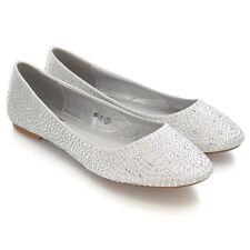 346e8e3c8ac0 Womens Bridal Diamante Shoes Ladies Sparkly Slip On Bridesmaid Pumps Size  3-9