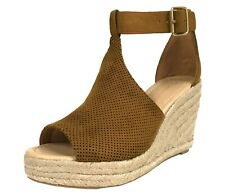 CASHIERS City Classified Women's Perforated Espadrille Ankle Strap Wedge Sandals