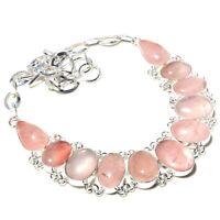 "Rose Quartz Gemstone Handmade 925 Sterling Silver Jewelry Ethnic Necklace 18"""
