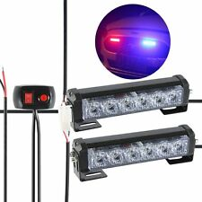 2X 6 LED Car Emergency Beacon Warning Hazard Flash Strobe Light Bar Blue Red 12V