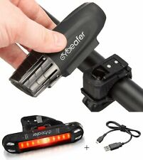 Cycleafer® USB Rechargeable Bike Light Set Super POWERFUL Lumens Bicycle Head...