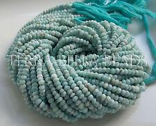 "13"" strand genuine LARIMAR faceted gem stone rondelle beads 4mm - 4.5mm blue"