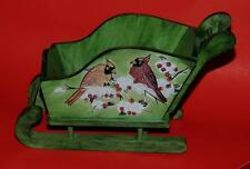 FESTIVE HAND PAINTED GREEN WOODEN SLEIGH w/RED CARDINALS - NEW